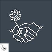 Handshake virus transmission related vector thin line icon.