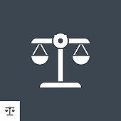 Libra related vector glyph icon.