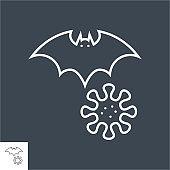 Bat carrier of coronavirus related vector thin line icon