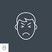 Pain hesad related vector thin line icon