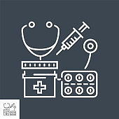 Health Care related vector thin line icon