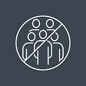 Avoid crowded places related vector thin line icon.