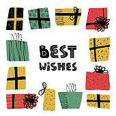 Happy Birthday, New Year, Christmas greeting card design with hand drawn various gift boxes or presents packs frame and Best wishes lettering text.