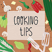 Cooking tips hand-drawn banner. Vegetables like paprika, garlic, chili pepper, culinary utensils, lime, greens like pak choi salad and green onion, also cheese or tofu pieces on wood cutting board