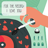Happy Valentine's Day greeting card design. Valentine's Day greeting card. A vinyl record player with hearts, funny lettering For the record, I love you. Vector illustration.