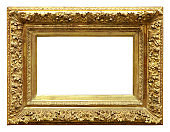 Golden vintage frame isolated on white background (All clipping paths included)