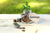 Earnings. Glass jar with coins and a plant in it, with a label on the jar and a few coins on a wooden table, natural background. Finance and investment concept.