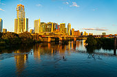 Enjoying the Town Lake in Austin Texas Downtown Cityscape at Sunset October 2020