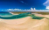 Drone view of Elliott Heads Beach and River, Queensland, Australia