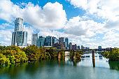 Fall in Austin Texas Skyline Cityscape over Lady Bird Lake