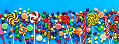 Border colorful lollipops and colored round candies on a blue background. Festive sweet background. Top view, flat lay.