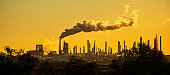 Climate Change panoramic oil refinery carbon pollution