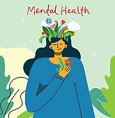 Mental health illustration concept.