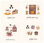 Sets of cards with cup of coffee and the coffee cake in line art style on background.