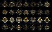Star shape gold fireworks explosion pattern set