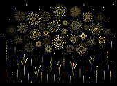 Abstract art deco burst gold pattern fireworks set