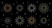 Star shape art deco fireworks burst pattern set