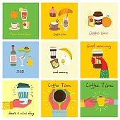 Set of breakfast food cards with hand written text, simple flat colorful warm illustration