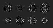 Chalk style star fireworks burst pattern set