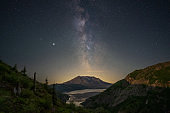 Milky Way Rising To The East Of Norway Pass, Over Spirit Lake, Mount Saint Helens National Monument