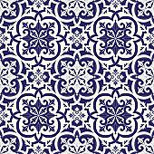 Spanish tile pattern vector seamless with vintage ornaments. Portugal azulejo, mexican talavera, delft dutch ceramic