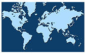 World map vector isolated on blue background. Flat Earth, inphographics. Globe similar world map icon. Travel worldwide, map silhouette backdrop