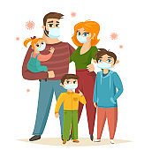 Big family wearing surgical mask, Coronavirus protection, vector illustration