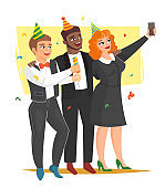 Office holiday party, vector illustration