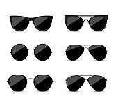 Set of fashionable black sunglasses on white background. Black glasses isolated with shadow for your design.