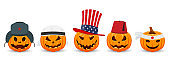 Pumpkin on white background. The main symbol of the Happy Halloween holiday. Pumpkin with national hat.
