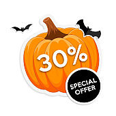 Halloween sale promotion sticker with pumpkin and bats.