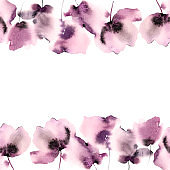 Seamless border with pink flowers. Floral greeting card template. Floral ornament. Watercolor gentle flowers. Pink flowers blossom.