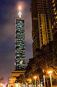 Taipei 101 Skyscraper at night time.