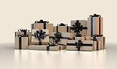 Tan And Black Gift Box Pile