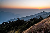 majestic sunset in the mountains' landscape. Hehuan Mountain in Taiwan, Asia.
