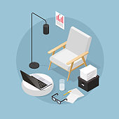Work From Home Isometric Illustration