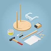 Isometric Furniture Repair Illustration