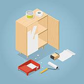 Isometric Furniture Renovation Illustration