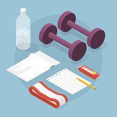 Isometric Fitness Equipment Illustration