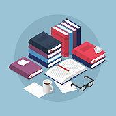 Reading Books Isometric Illustration