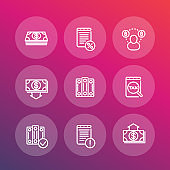 Bookkeeping line icons set, accounting, tax, payroll, costs, vector illustration