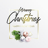 Christmas card with golden frame and wreath
