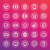 icons for web design in line style, 25 vector pictograms set