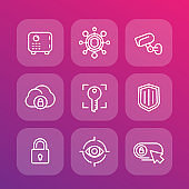 Security line icons set, secure server, lock, shield, strongbox, video surveillance, safety