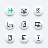 mobile, desktop apps icons set, vector pictograms with smartphones and tablets