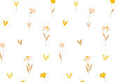 Floral pattern Hand drawn seamless vector texture