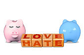 Love Hate Words on Same Building Blocks and Piggy Banks