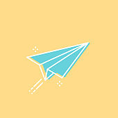 Paper plane flying with contrail. Turquoise sign on yellow background. Concept of creativity, delivery, sending, message. Vector illustration, flat design