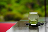 Cold green tea that has been placed in a Japanese-style table