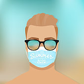 Young man wearing sunglasses and mask on the beach. Summer 2020. Protection against coronavirus. New normal lifestyle. Vector illustration, flat design